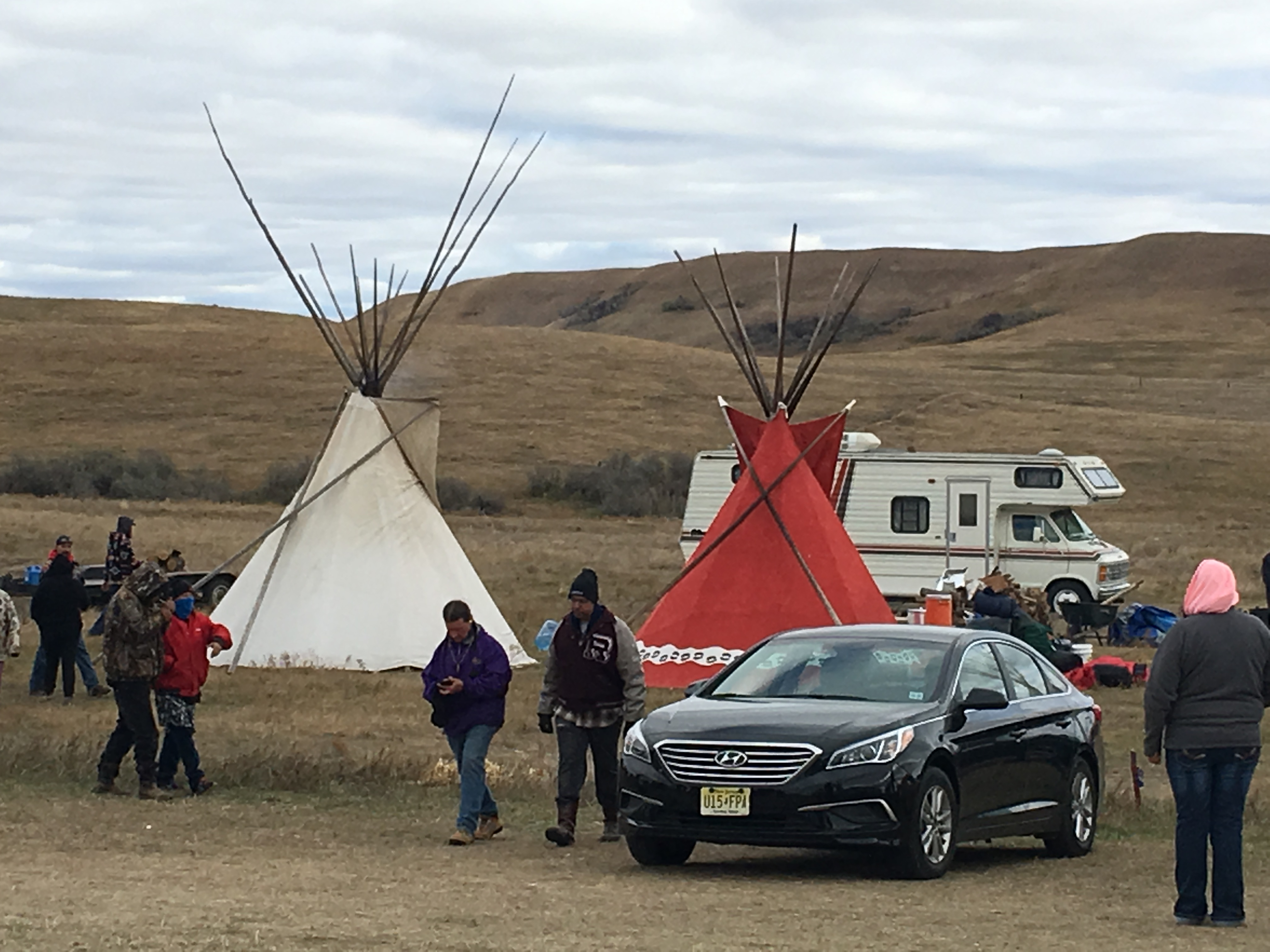 Tipis set up at third camp along Highway 1806 in opposition to the Dakota Access Pipeline near the Standing Rock Sioux Reservation.
